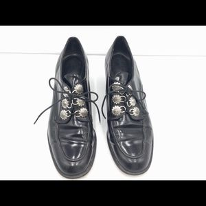 Brighton Black Leather Lace Up Shoes Size 7 1/2